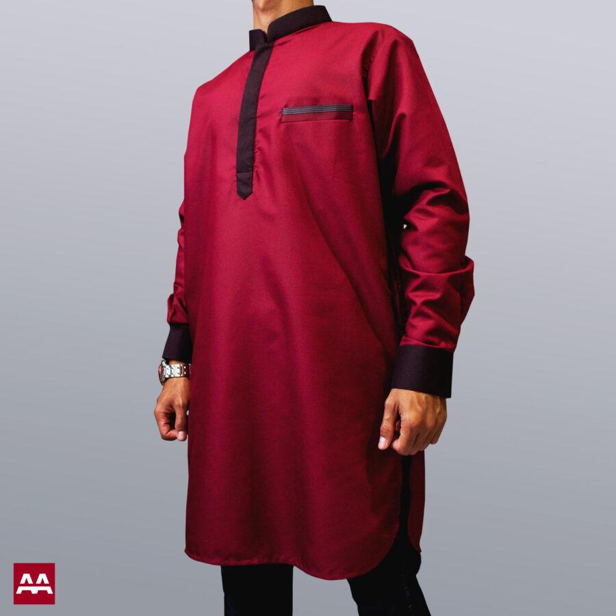 Baju kurta elegan terbaru warna merah marun, baju muslim pakistan ternyaman