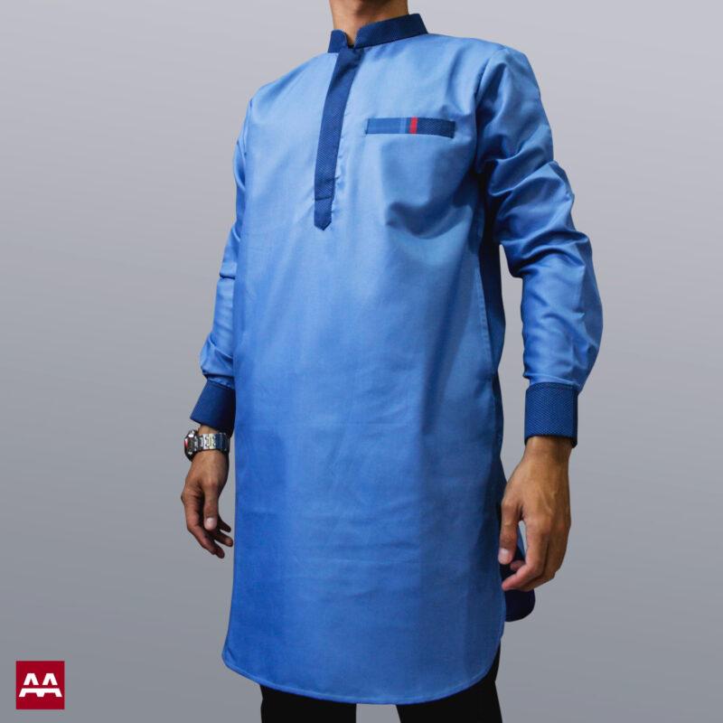 Baju kurta elegan terbaru warna biru langit, biru muda, baju muslim pakistan ternyaman