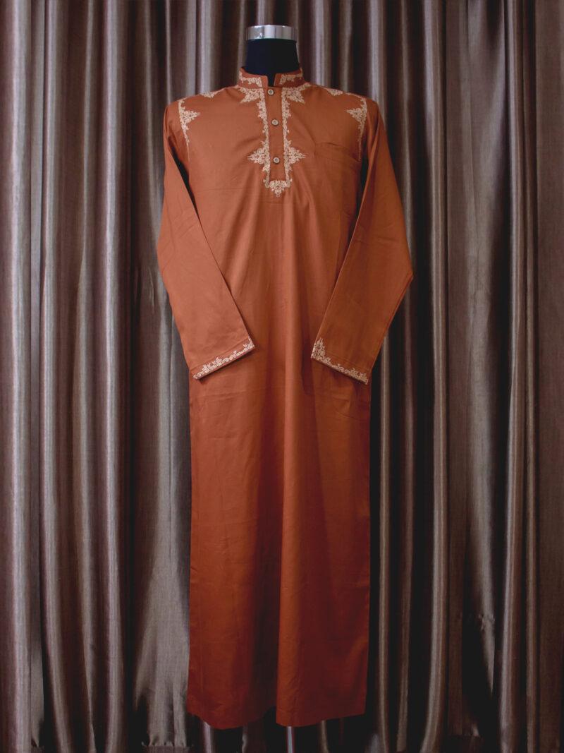 Baju gamis cowok dan pria bordir lengan panjang terbaru warna orange coklat