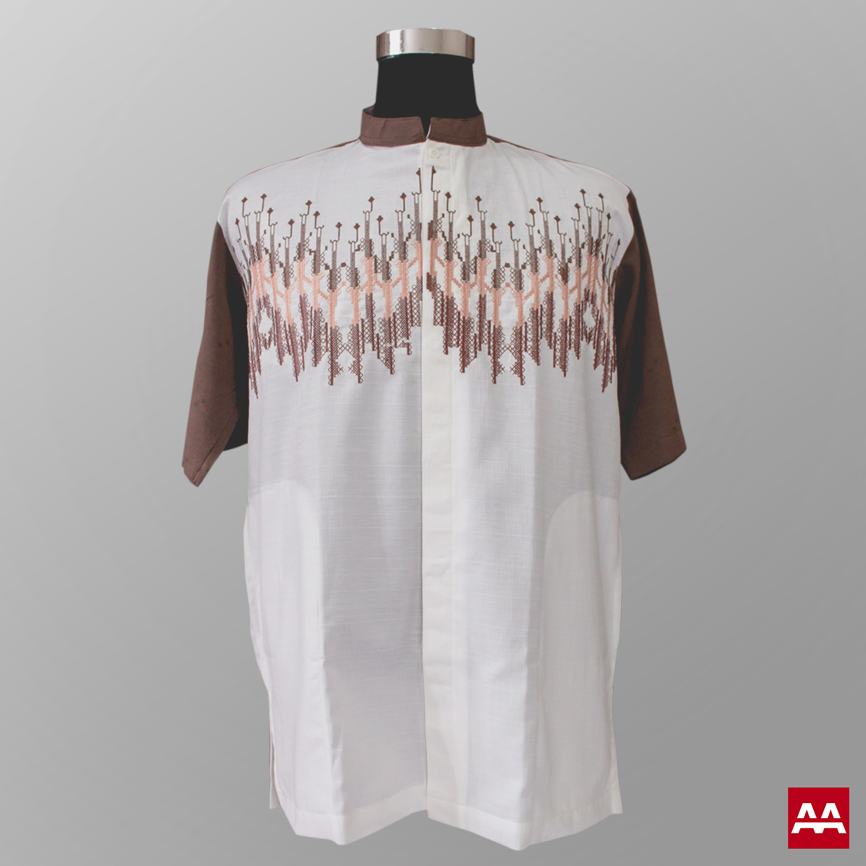 Baju koko modern trendi bordir warna coklat terbaru