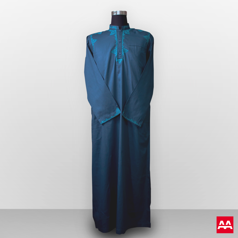 Gamis bordir lengan panjang elegant green al marih Pusat baju gamis pria