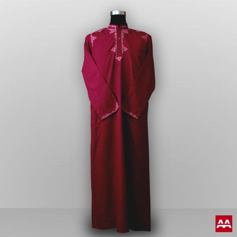 Baju gamis cowok dan pria bordir lengan panjang terbaru warna merah