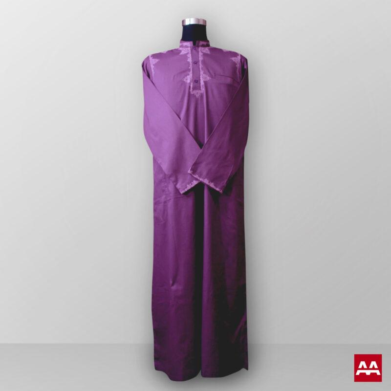 Baju gamis cowok dan pria bordir ungu lengan panjang terbaru