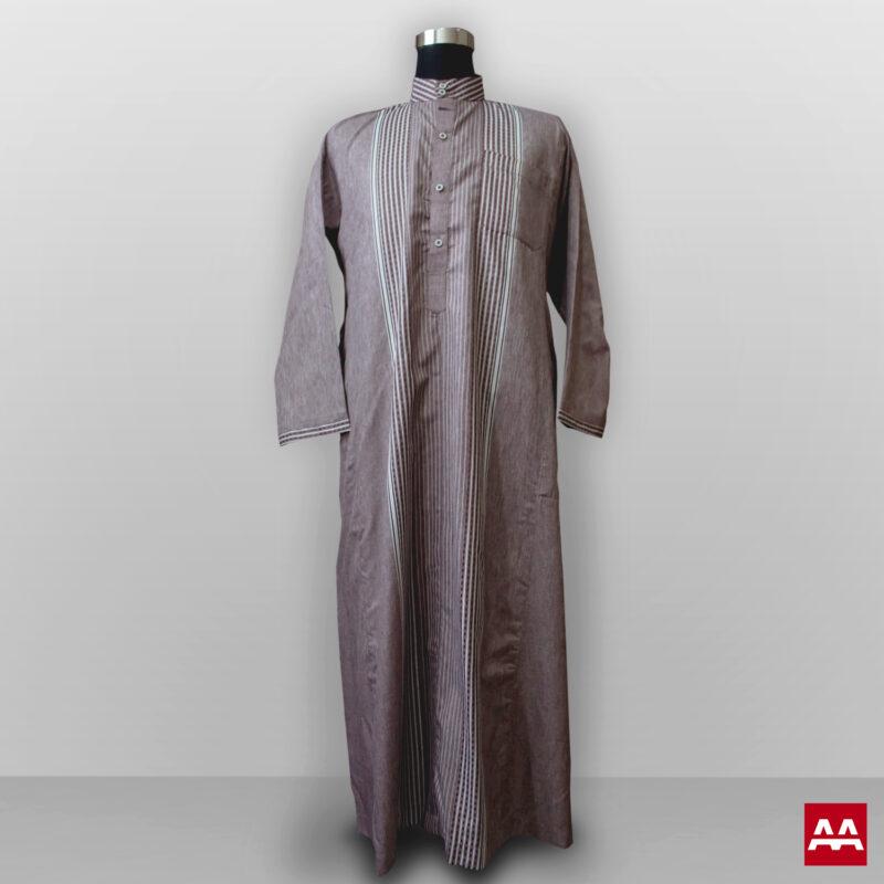 Baju gamis cowok kain halus lengan panjang warna coklat gelap