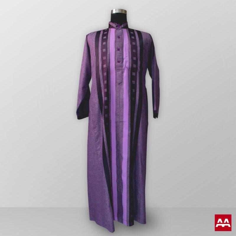 Baju gamis pria lengan panjang warna ungu kain halus terbaik