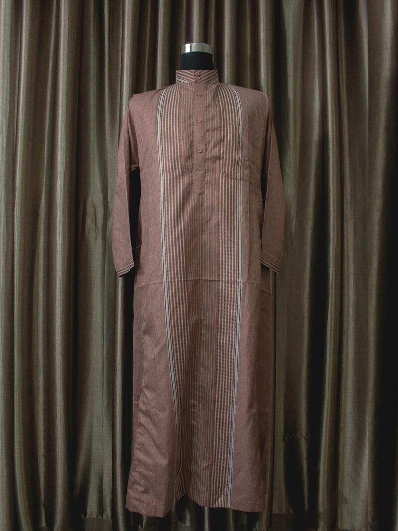 Baju gamis cowok kain halus lengan panjang warna coklat