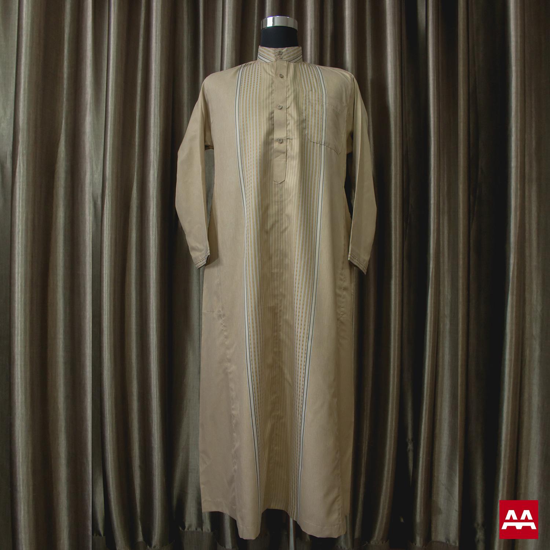 Baju gamis cowok kain halus lengan panjang warna emas