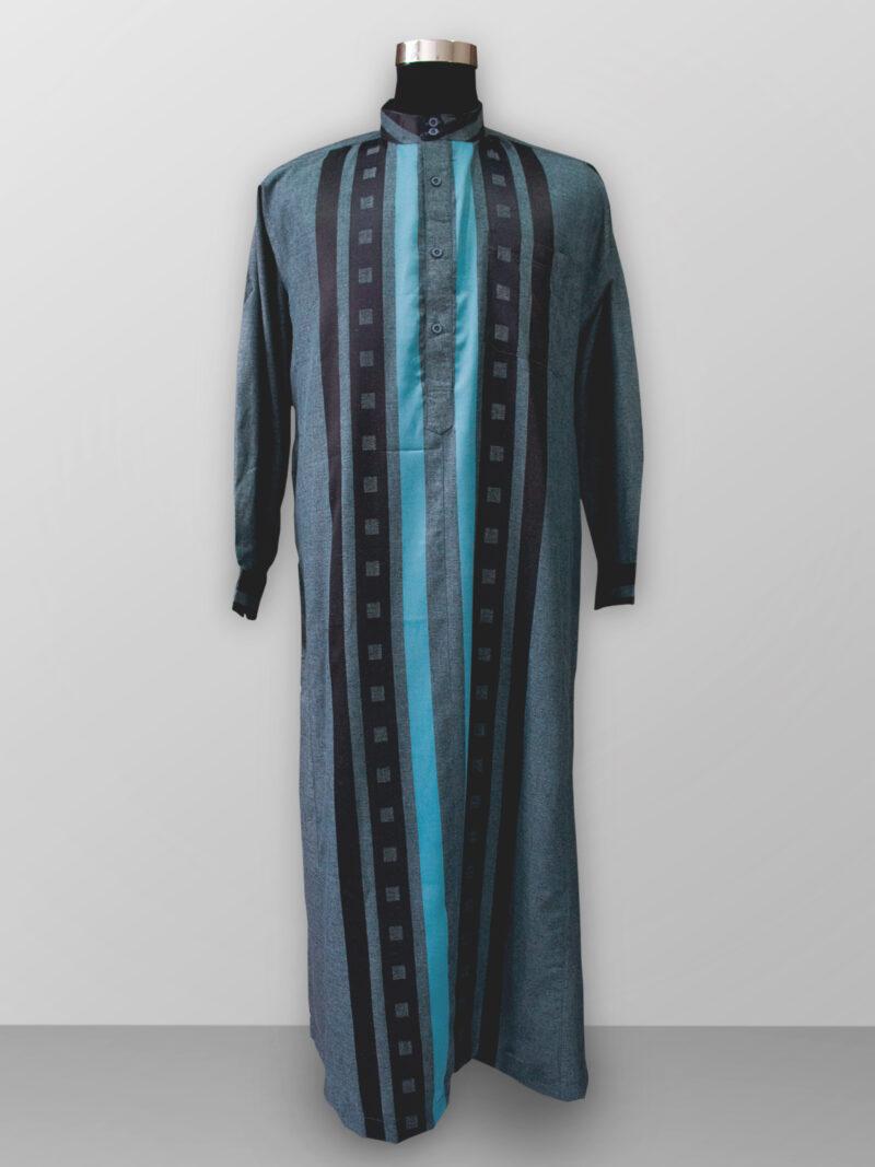 Baju gamis pria lengan panjang warna biru tosca terbaik